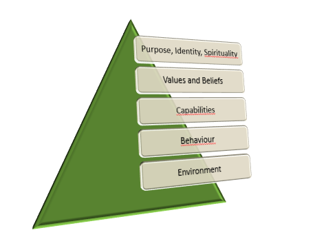 Adapted from Dilts' logical levels. A pyramid with five layers, bottom to top: environment - behaviour - capabilities - values and beliefs - purpose, identity and spirituality